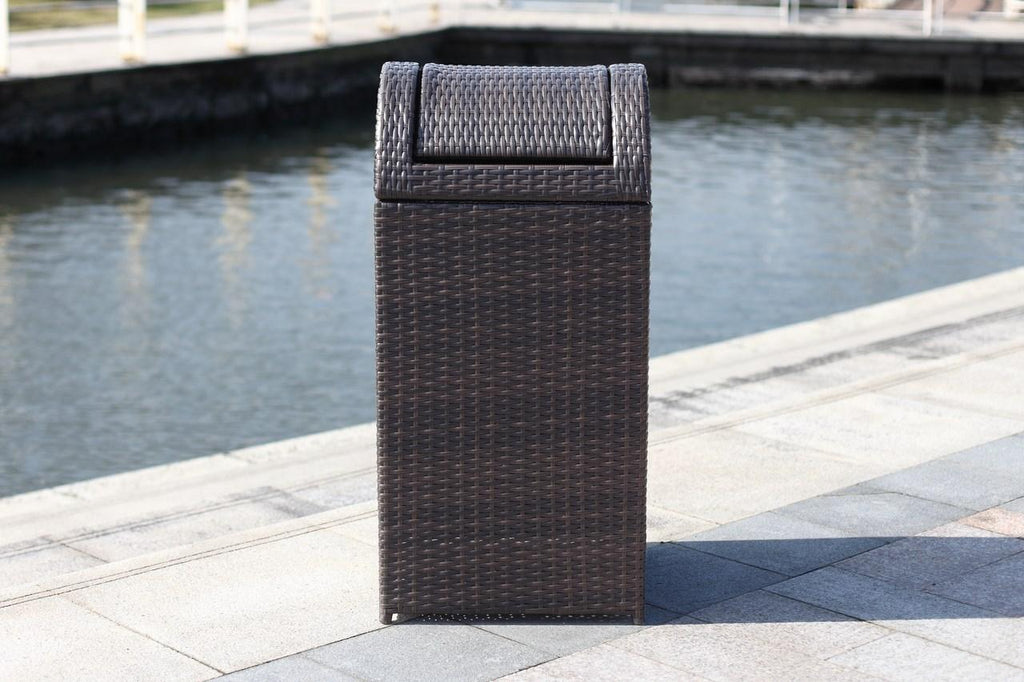 Safavieh Bishop Trash Bin Outdoor 18 Gallon Brown Rattan PE Rattan Foam PAT2511A 889048365759
