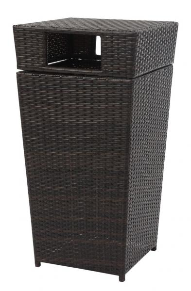 Safavieh Bishop Trash Bin Outdoor 18 Gallon Brown Rattan PE Rattan Foam PAT2512A 889048365773