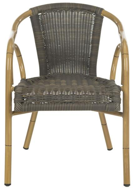 Safavieh - Set of 2 - Dagny Arm Chair Chocolate Light Brown Rattan PE Wicker Aluminium PAT4000A-SET2 683726991304