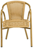 Safavieh - Set of 2 - Dagny Arm Chair Stacking Natural Light Brown Rattan PE Wicker Aluminum PAT4000B-SET2 889048323162