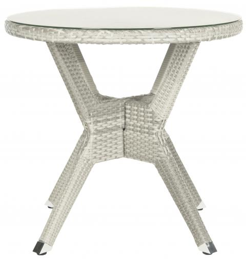 Safavieh Langer Dining Table Round Grey Silver Rattan PE Wicker Aluminium PAT4006A 683726989486