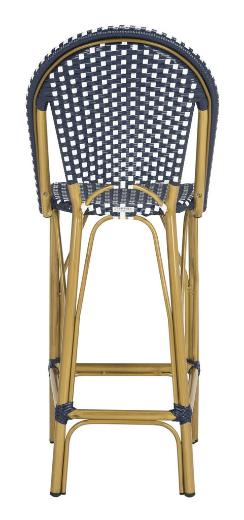 Safavieh Ford Bar Stool Indoor Outdoor Stacking French Bistro Navy White Rattan PE Wicker Aluminum PAT4008A 889048322806