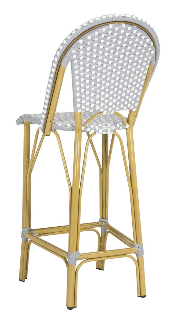 Safavieh Ford Bar Stool Indoor Outdoor Stacking French Bistro Grey White Rattan PE Wicker Aluminum PAT4008B 889048322813