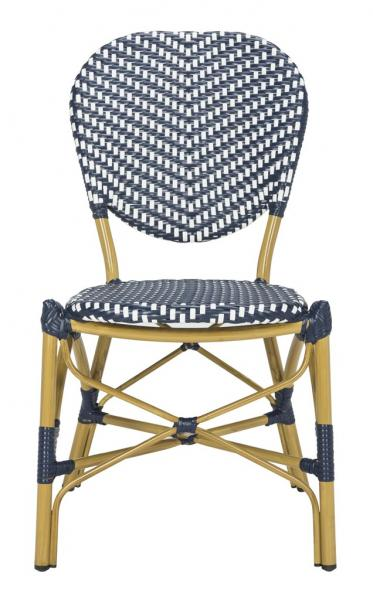 Safavieh - Set of 2 - DISCO Lisbeth Side Chair French Bistro Stacking Navy White Rattan PE Wicker Aluminum PAT4010A-SET2 889048322851