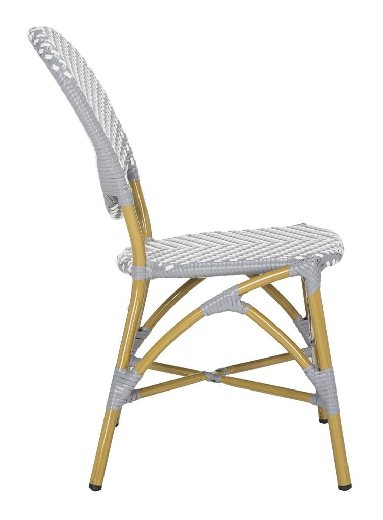 Safavieh - Set of 2 - DISCCO Lisbeth Side Chair French Bistro Stacking Grey White Rattan PE Wicker Aluminum PAT4010B-SET2 889048322875