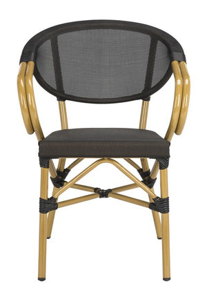 Safavieh - Set of 2 - Burke Arm Chair Stacking Black Rattan PE Wicker Aluminum PAT4015A-SET2 889048323148