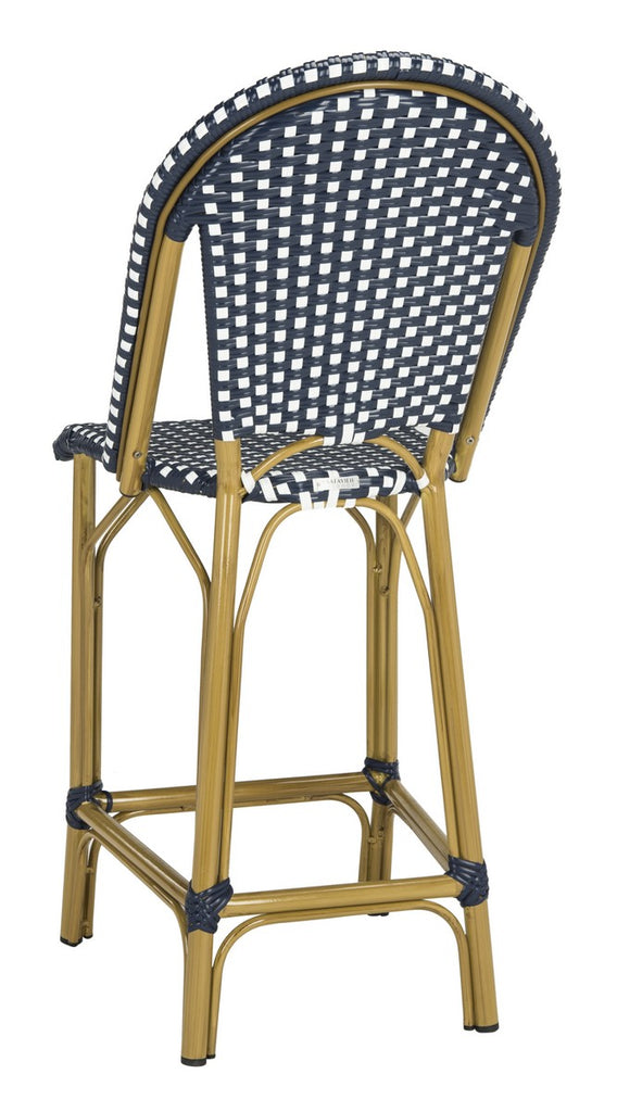 Safavieh Gresley Counter Stool Indoor Outdoor Stacking French Bistro Navy White Rattan PE Wicker Aluminum PAT4019A 889048323285