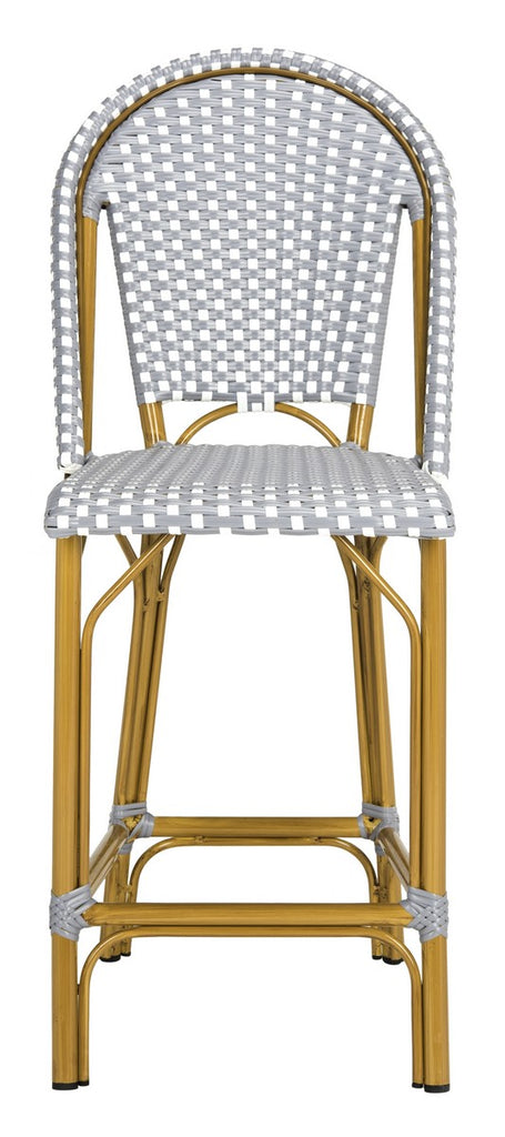 Safavieh Gresley Counter Stool Indoor Outdoor Stacking French Bistro Grey White Rattan PE Wicker Aluminum PAT4019B 889048323292