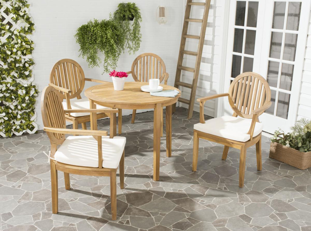 Safavieh Chino Dining Set 5 Piece Teak Brown Brass Acacia Wood Textilene CA Foam Galvanized Steel PAT6706A 683726407386