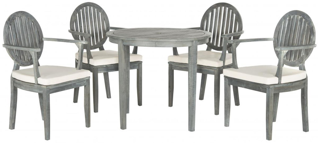 Safavieh Chino Dining Set 5 Piece Ash Grey Silver Acacia Wood Textilene CA Foam Galvanized Steel PAT6706B 683726407447