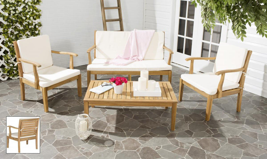 Safavieh Fresno Outdoor Living Set 4 Piece Teak Brown Beige Brass Acacia Wood Polyester CA Foam Galvanized Steel PAT6711A 683726408765