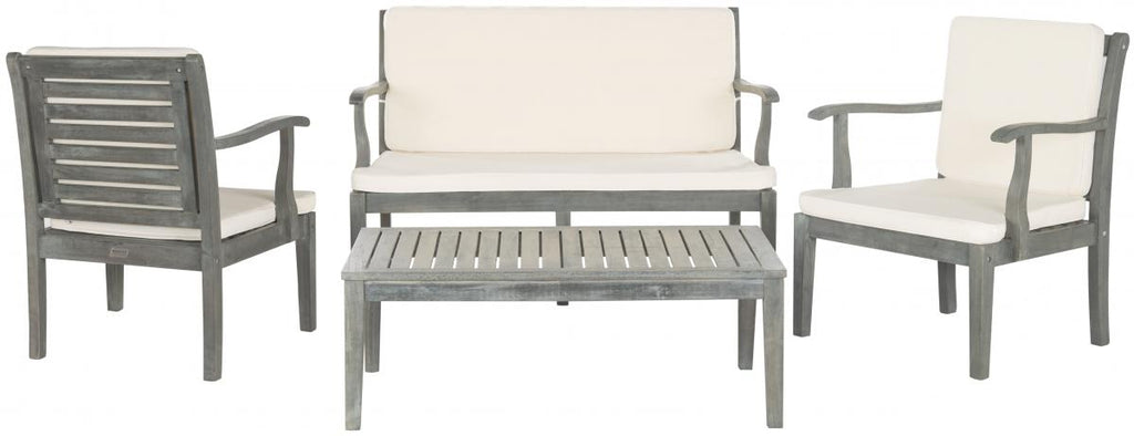 Safavieh Fresno Outdoor Living Set 4 Piece Ash Grey Beige Silver Acacia Wood Polyester CA Foam Galvanized Steel PAT6711B 683726408918