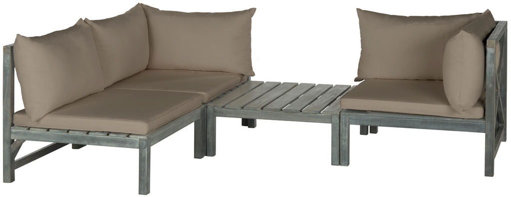 Safavieh Lynwood Sectional Modular Outdoor Ash Grey Taupe Silver Acacia Wood Polyester CA Foam Galvanized Steel PAT6713D 683726553151