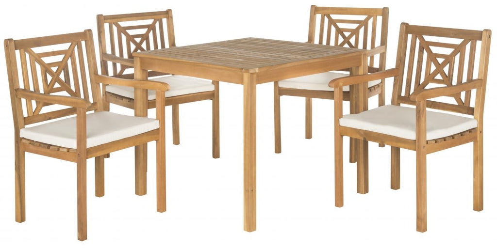 Safavieh Del Mar Dining Set 5 Piece Teak Brown Beige Brass Acacia Wood Polyester CA Foam Galvanized Steel PAT6722A 683726554233