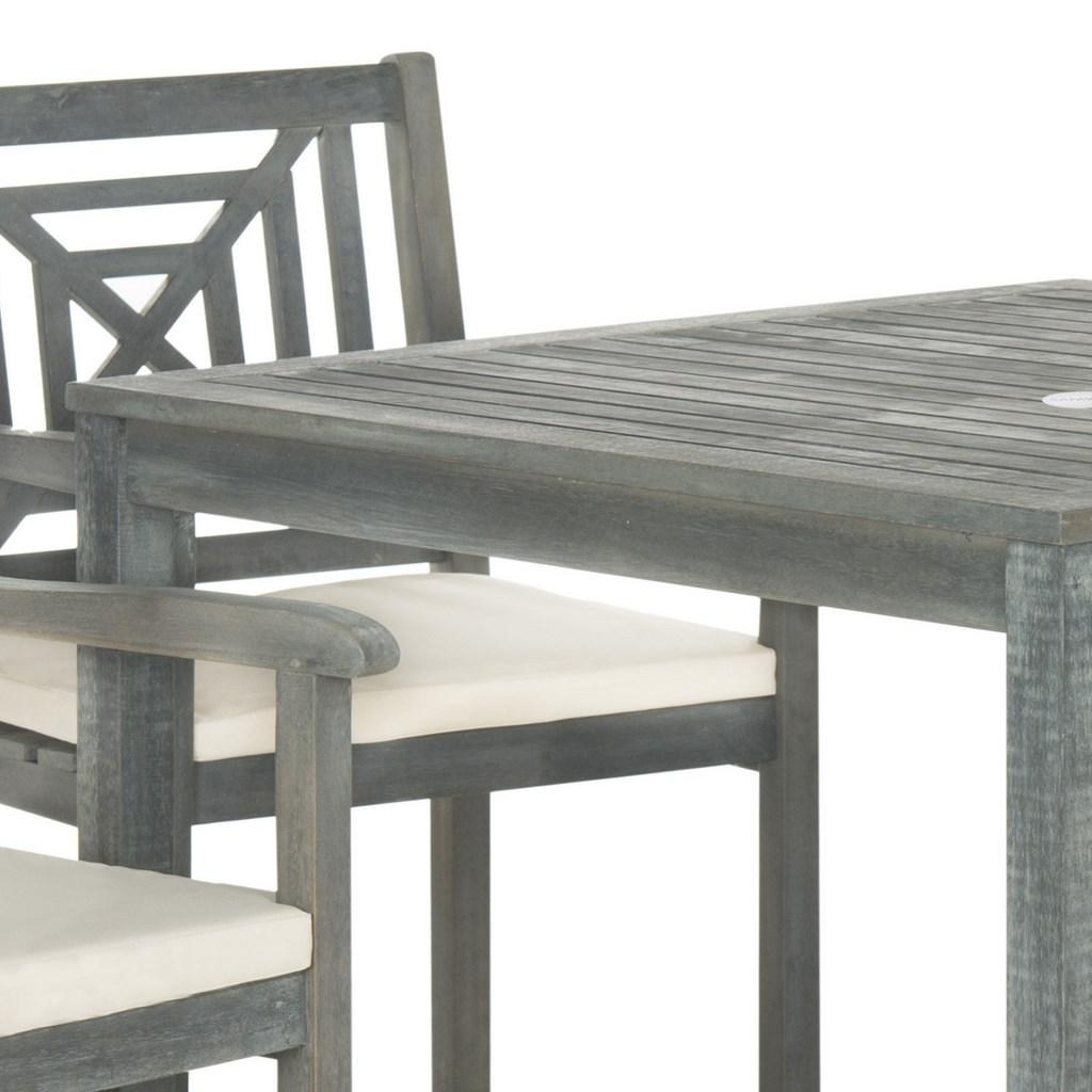 Safavieh Del Mar Dining Set 5 Piece Ash Grey Beige Silver Acacia Wood Polyester CA Foam Galvanized Steel PAT6722B 683726554240