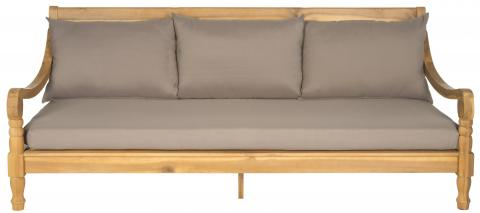Safavieh Pasadena Day Bed Teak Brown Taupe Brass Acacia Wood Polyester CA Foam Galvanized Steel PAT6724A 683726554264