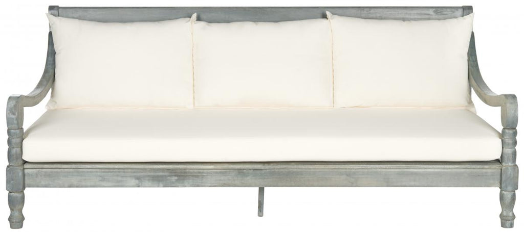 Safavieh Pasadena Day Bed Ash Grey Beige Silver Acacia Wood Polyester CA Foam Galvanized Steel PAT6724C 683726570417