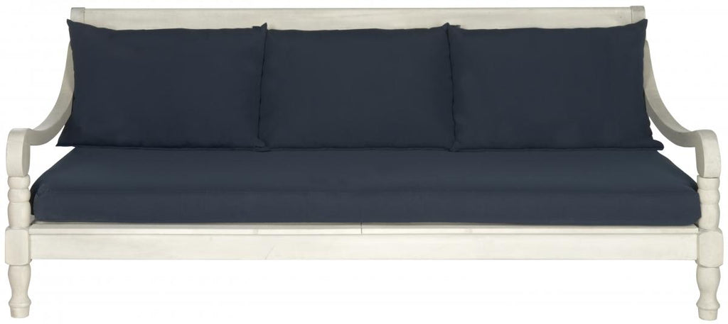 Safavieh Pasadena Day Bed Antique White Navy Silver Acacia Wood Polyester CA Foam Galvanized Steel PAT6724D 683726577737