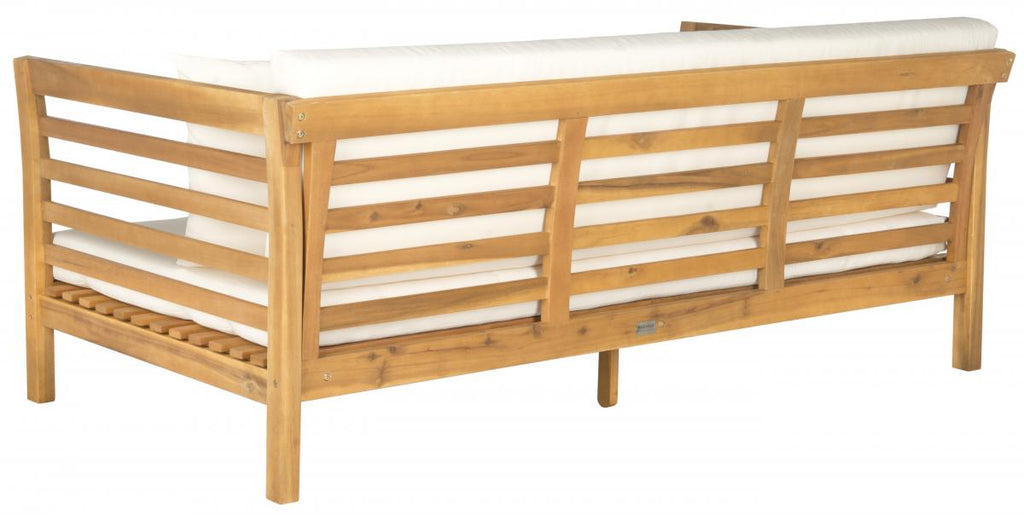 Safavieh Malibu Day Bed Teak Brown Beige Brass Acacia Wood Polyester CA Foam Galvanized Steel PAT6725B 683726577775