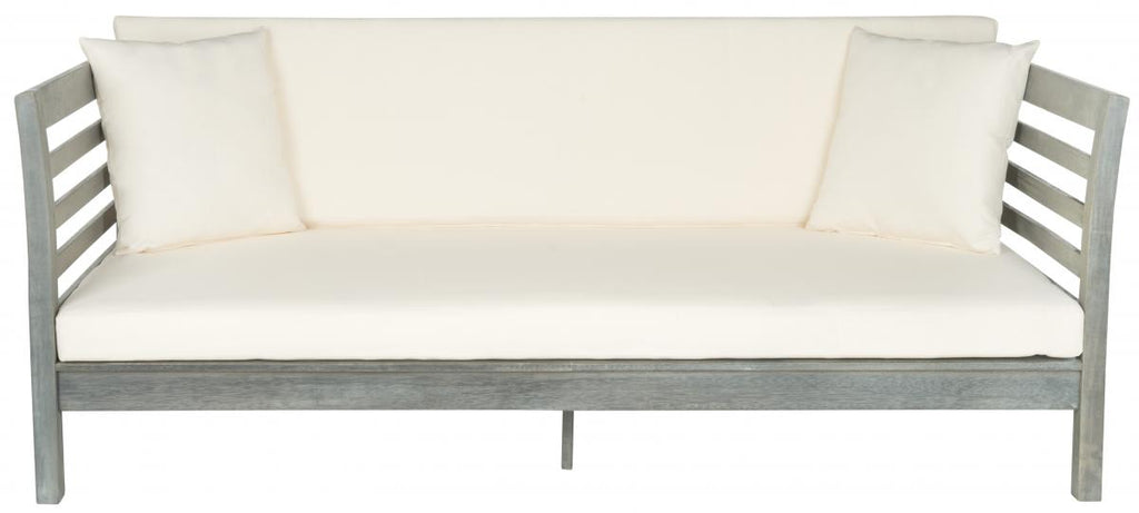 Safavieh Malibu Day Bed Ash Grey Beige Silver Acacia Wood Polyester CA Foam Galvanized Steel PAT6725C 683726577829