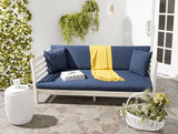 Safavieh Malibu Day Bed Antique White Navy Silver Acacia Wood Polyester CA Foam Galvanized Steel PAT6725D 683726577836