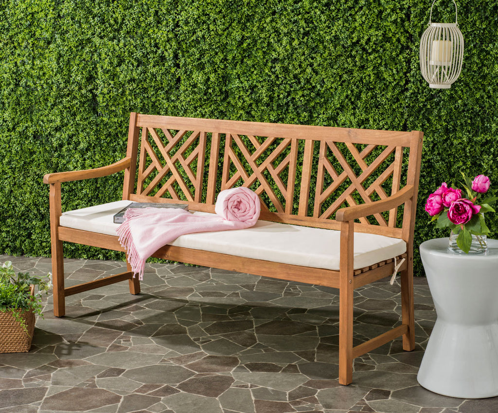 Safavieh Bradbury Bench 3 Seat Teak Brown Beige Brass Acacia Wood Polyester CA Foam Galvanized Steel PAT6738A 889048062566