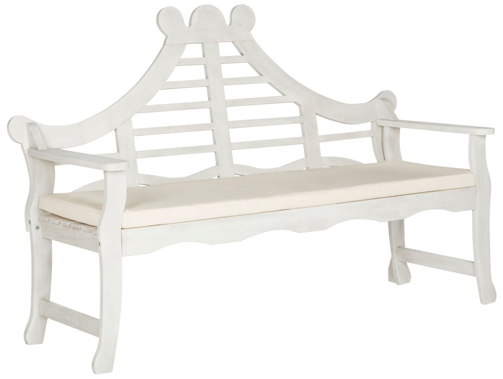Safavieh Azusa Bench Antique White Silver Acacia Wood Polyester CA Foam Galvanized Steel PAT6741C 889048062689