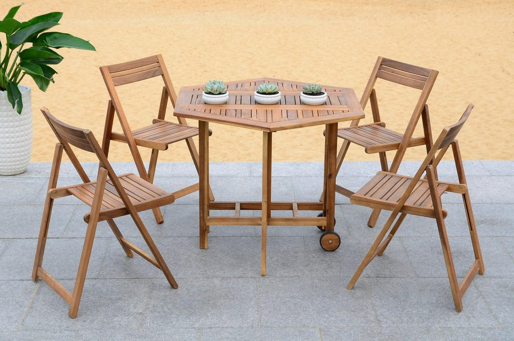 Safavieh Kerman Table and 4 Chairs Teak Silver Acacia Wood Galvanized Steel PAT7000A 683726406143