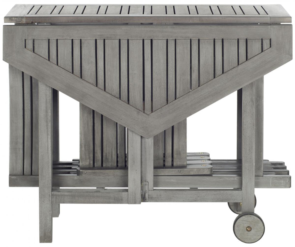 Safavieh Kerman Table and 4 Chairs Grey Wash Silver Acacia Wood Galvanized Steel PAT7000B 683726406167