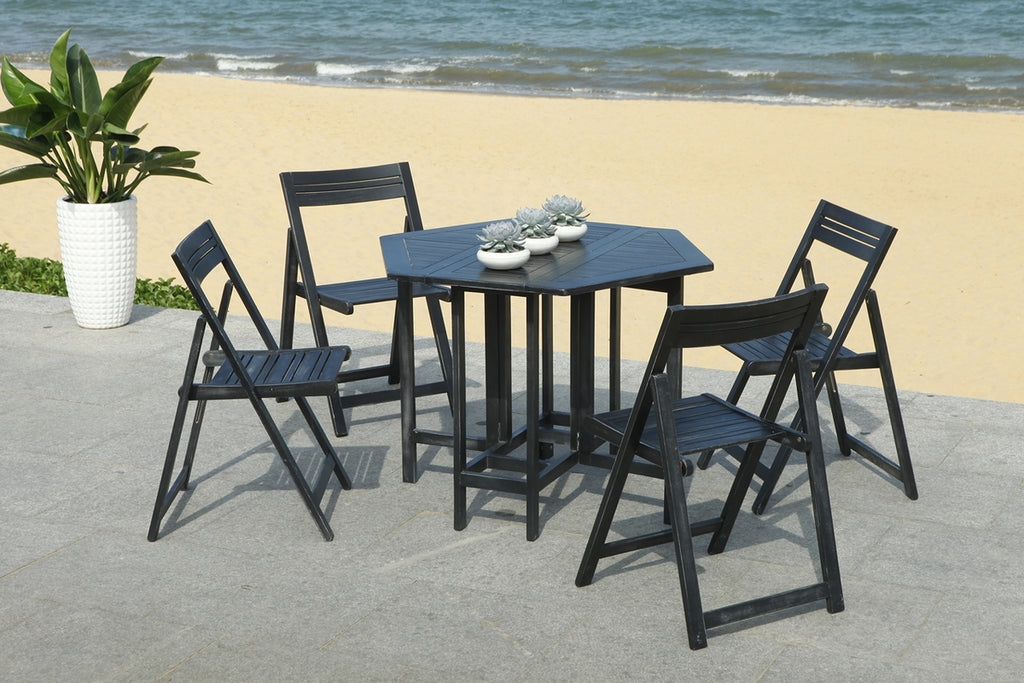 Safavieh Kerman Table And 4 Chairs Black Wood Acacia Galvanized Steel PAT7000C