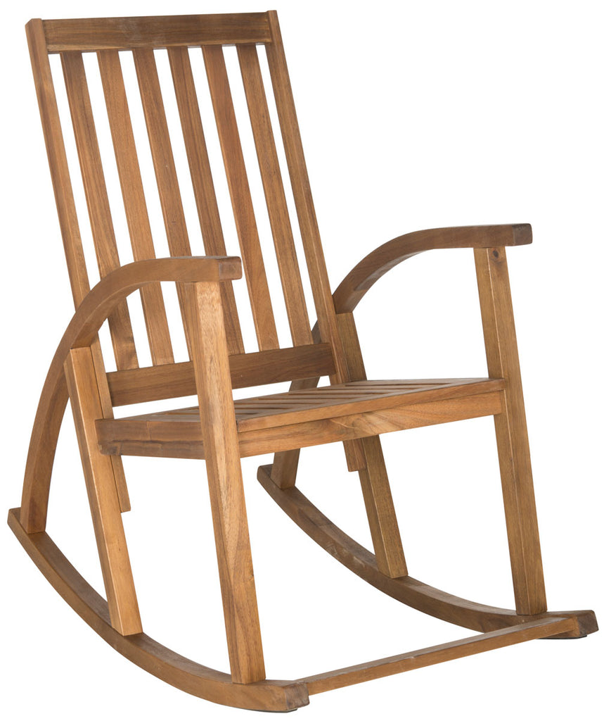 Safavieh Clayton Rocking Chair Teak Silver Acacia Wood Galvanized Steel PAT7003A 683726406273
