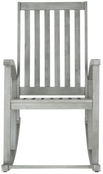 Safavieh Clayton Rocking Chair Grey Wash Silver Acacia Wood Galvanized Steel PAT7003B 683726406280