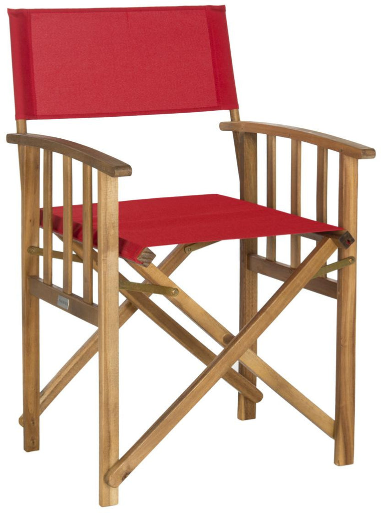 Safavieh - Set of 2 - Laguna Director Chair Teak Silver Acacia Wood Textilene Galvanized Steel PAT7004A-SET2 683726407355