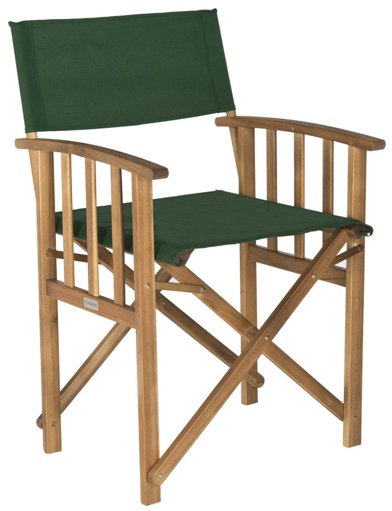 Safavieh - Set of 2 - Laguna Director Chair Teak Green Silver Acacia Wood Textilene Galvanized Steel PAT7004B-SET2 683726407362