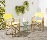 Safavieh - Set of 2 - Laguna Director Chair Teak Yellow Silver Acacia Wood Textilene Galvanized Steel PAT7004C-SET2 683726407379
