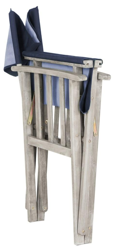 Safavieh - Set of 2 - Laguna Director Chair Grey Wash Navy Silver Acacia Wood Textilene Galvanized Steel PAT7004D-SET2 889048075689