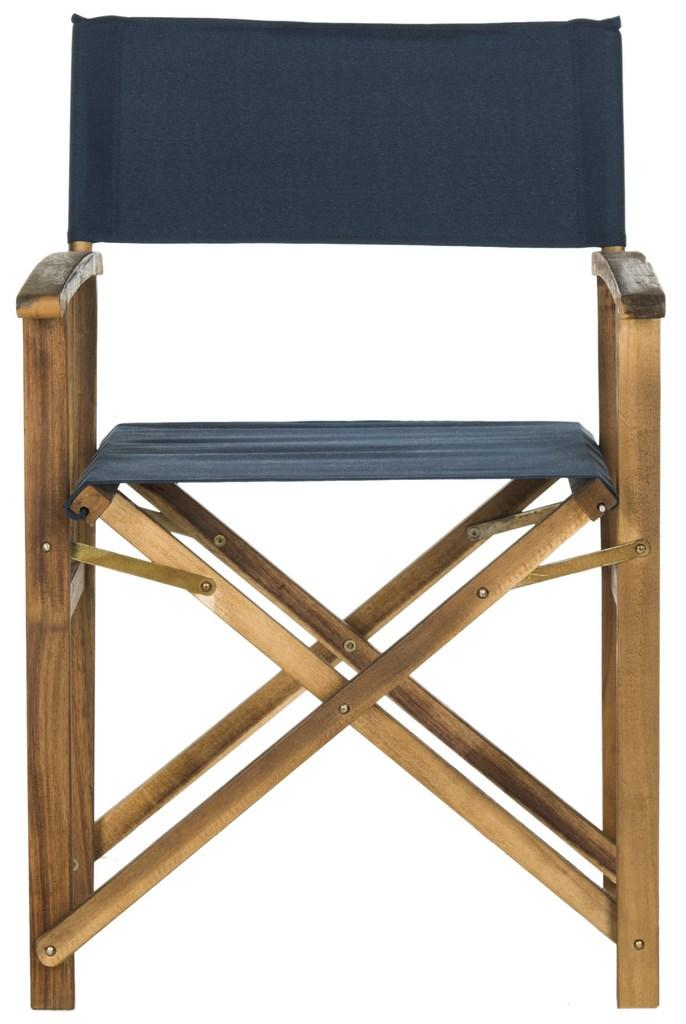 Safavieh - Set of 2 - Laguna Director Chair Teak Navy Silver Acacia Wood Textilene Galvanized Steel PAT7004E-SET2 889048075702