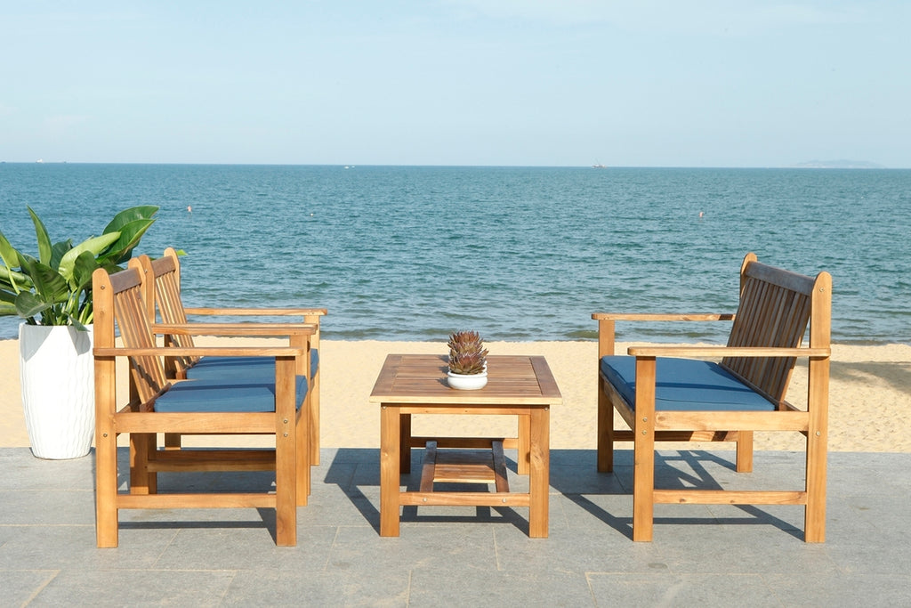 Safavieh Burbank 4 Piece Outdoor Set Natural Navy Wood Acacia Polyester Foam Galvanized Steel PAT7006D