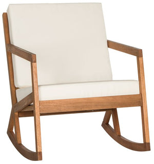 Safavieh Vernon Rocking Chair Teak Brown Beige Silver Eucalyptus Wood Polyester Foam Galvanized Steel PAT7013A 889048000858