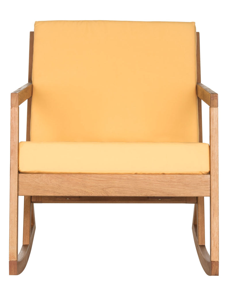 Safavieh Vernon Rocking Chair Teak Brown Yellow Silver Eucalyptus Wood Polyester Foam Galvanized Steel PAT7013B 889048069992