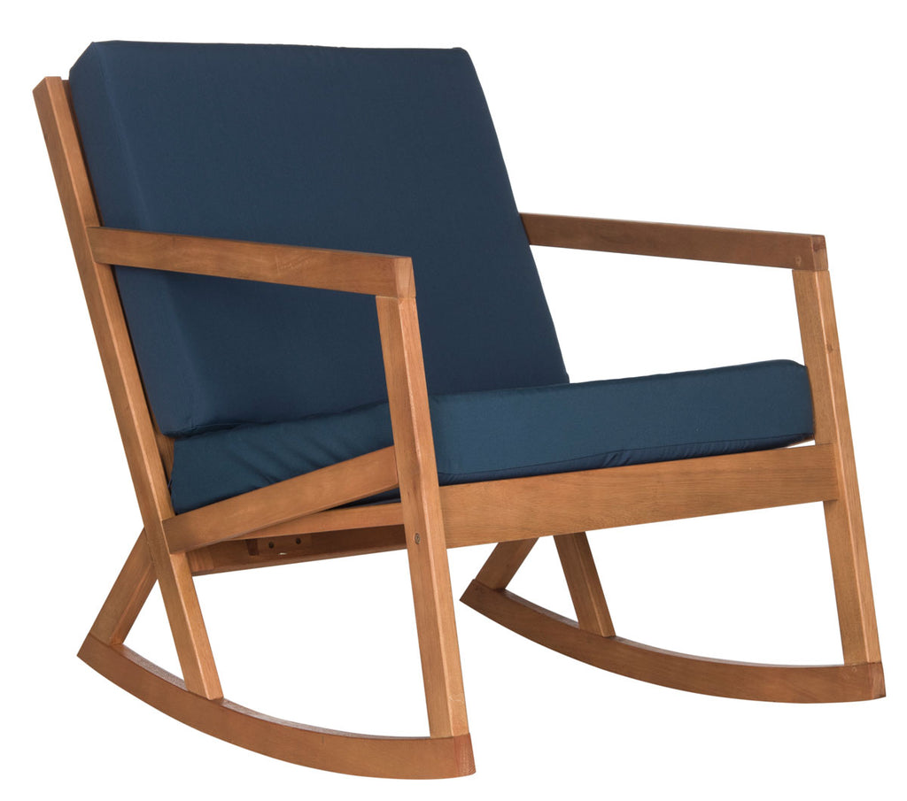 Safavieh Vernon Rocking Chair Teak Brown Navy Silver Eucalyptus Wood Polyester Foam Galvanized Steel PAT7013C 889048070004