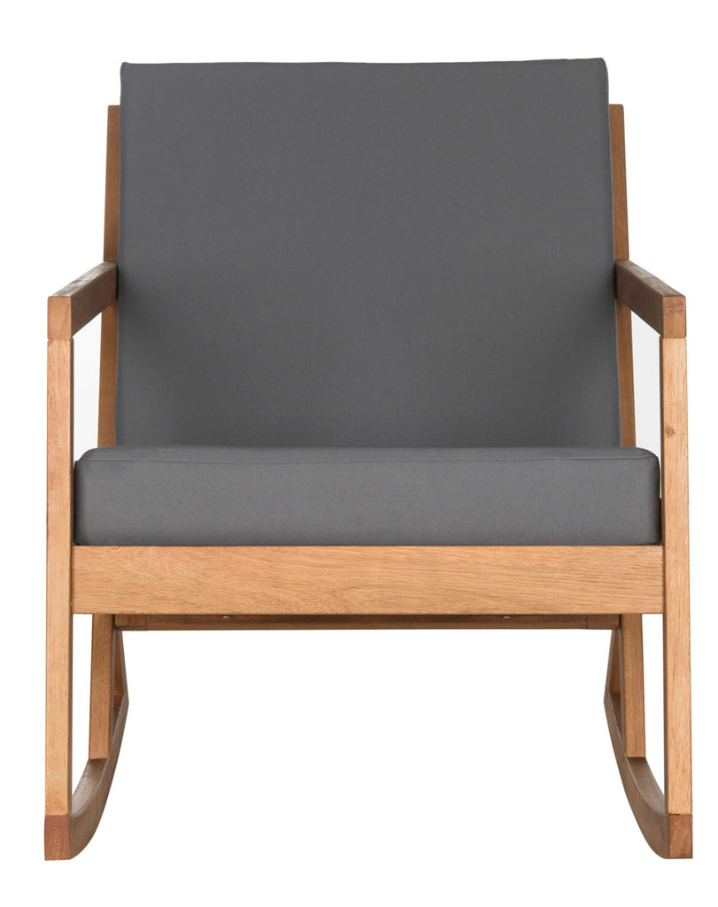 Safavieh Vernon Rocking Chair Teak Brown Grey Silver Eucalyptus Wood Polyester Foam Galvanized Steel PAT7013D 889048070011