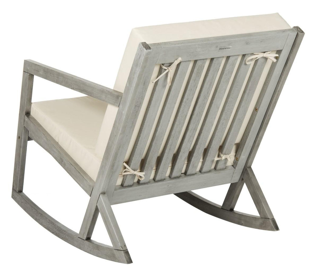 Safavieh Vernon Rocking Chair Grey Beige Silver Eucalyptus Wood Polyester Foam Galvanized Steel PAT7013E 889048070028