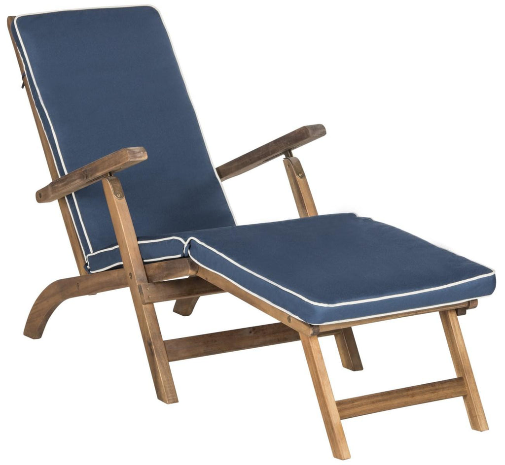 Safavieh Palmdale Lounge Chair Teak Brown Navy Silver Acacia Wood Polyester Foam Galvanized Steel PAT7015A 889048023949