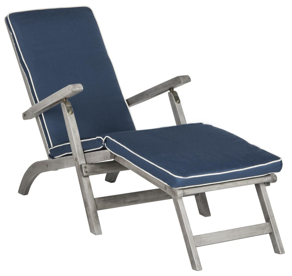 Safavieh Palmdale Lounge Chair Grey Navy Silver Acacia Wood Polyester Foam Galvanized Steel PAT7015B 889048023956