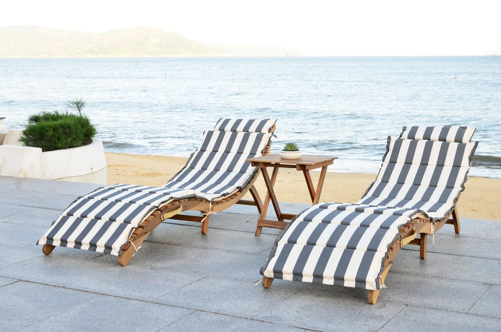 Safavieh Pacifica Lounge Set 3 Piece Teak Brown Grey White Silver Acacia Wood Polyester Foam Galvanized Steel PAT7020A 889048005990