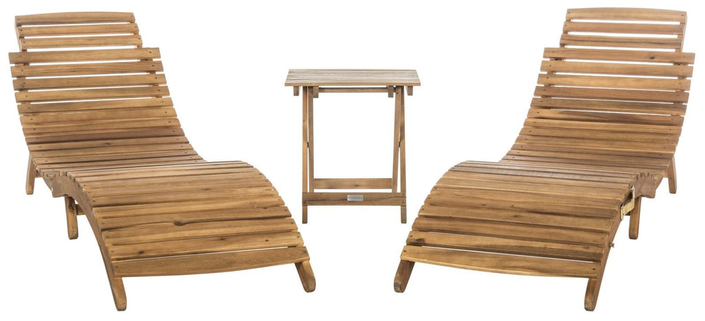 Safavieh Pacifica Lounge Set 3 Piece Teak Brown Navy Silver Acacia Wood Polyester Foam Galvanized Steel PAT7020C 889048006010