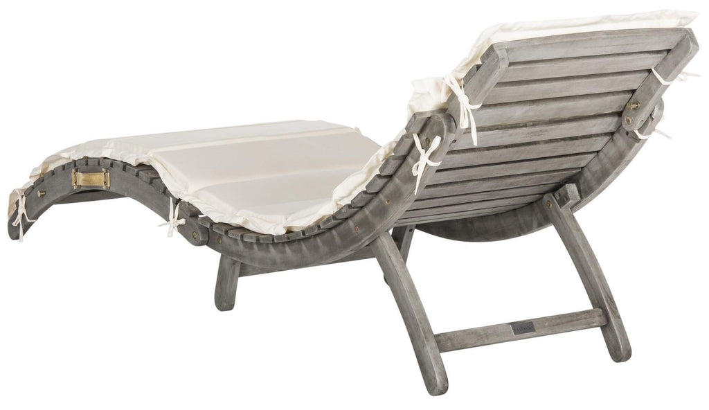 Safavieh Pacifica Lounge Set 3 Piece Grey Beige Silver Acacia Wood Polyester Foam Galvanized Steel PAT7020E 889048006034