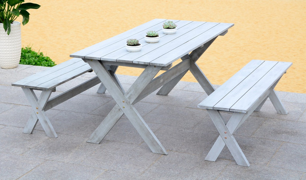 "Safavieh Marina Dining Set with 63"" Table and 2 Backless Benches 3 Piece Grey Wash Silver Acacia Wood Galvanized Steel PAT7021B 889048318458"