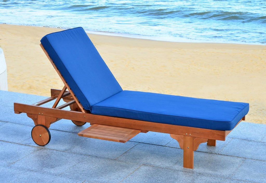 Safavieh Newport Chaise Lounge Chair with Side Table Teak Brown Navy Silver Eucalyptus Wood Polyester Foam Galvanized Steel PAT7022B 889048014961